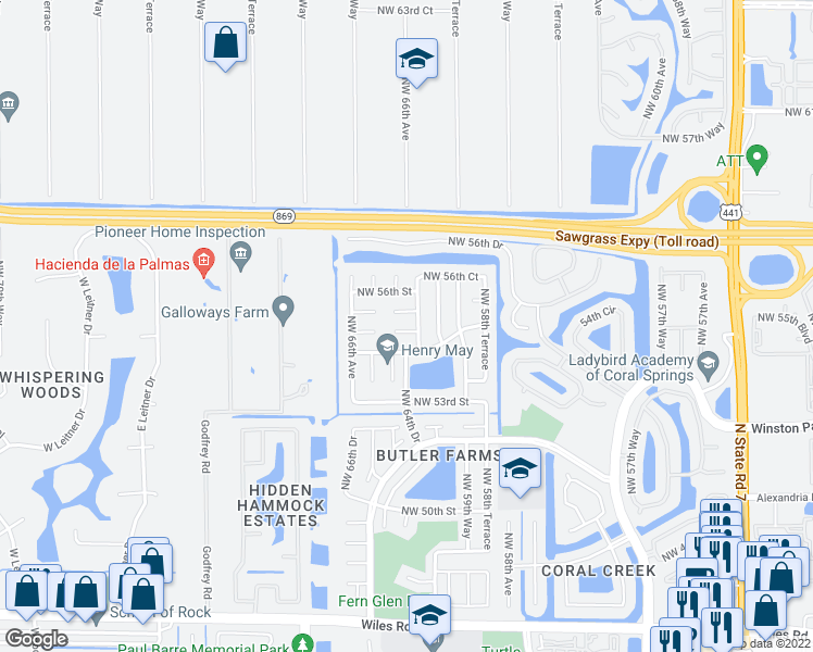 map of restaurants, bars, coffee shops, grocery stores, and more near 6383 Northwest 55th Street in Coral Springs