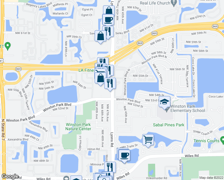 map of restaurants, bars, coffee shops, grocery stores, and more near 5321 Lyons Road in Coconut Creek