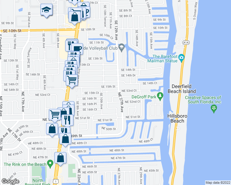 map of restaurants, bars, coffee shops, grocery stores, and more near 2640 Northeast 53rd Court in Lighthouse Point