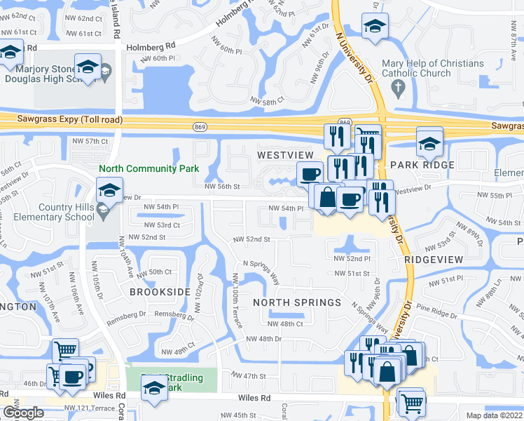 map of restaurants, bars, coffee shops, grocery stores, and more near 9965-9999 Westview Drive in Coral Springs