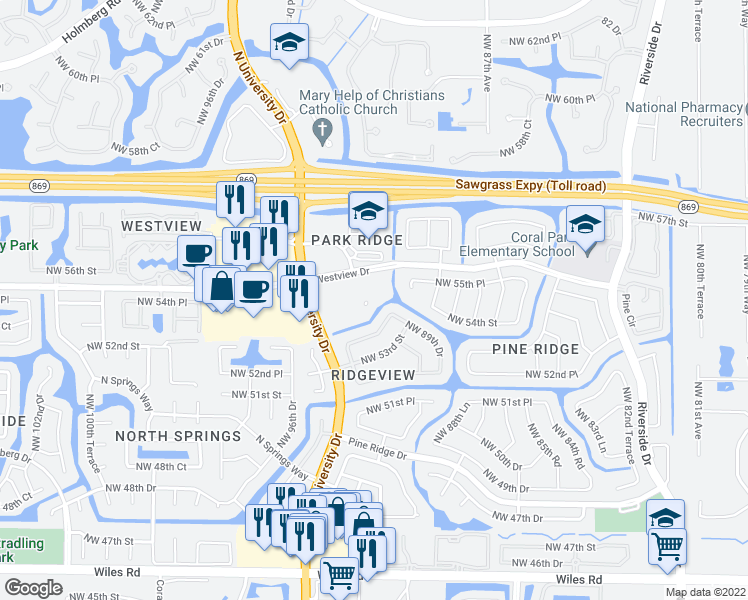 map of restaurants, bars, coffee shops, grocery stores, and more near 5441 North University Drive in Coral Springs