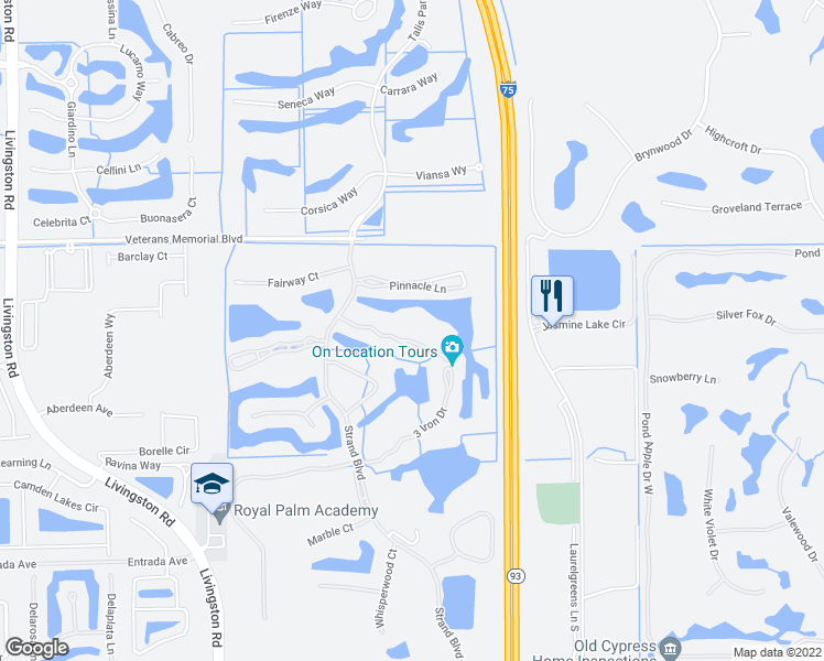map of restaurants, bars, coffee shops, grocery stores, and more near 5932 Sand Wedge Lane in Naples