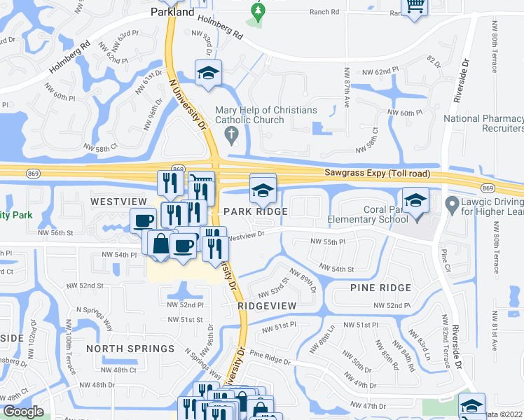 map of restaurants, bars, coffee shops, grocery stores, and more near 9001 Westview Drive in Coral Springs