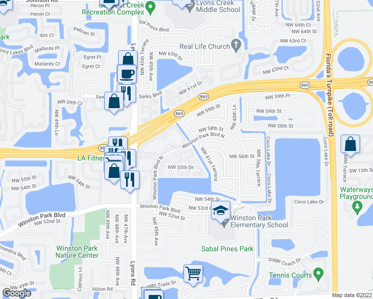map of restaurants, bars, coffee shops, grocery stores, and more near 7700 Northwest 48th Avenue in Coconut Creek