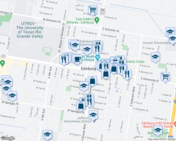 map of restaurants, bars, coffee shops, grocery stores, and more near in Edinburg