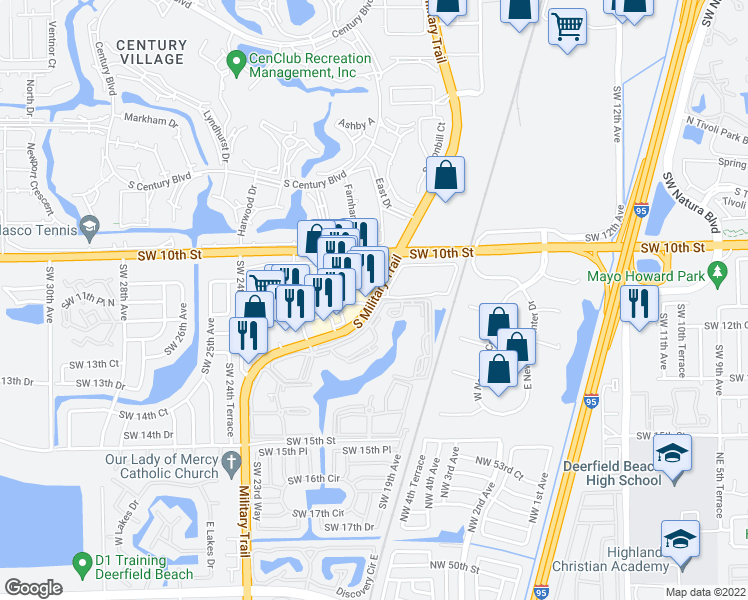 map of restaurants, bars, coffee shops, grocery stores, and more near 1340-1438 South Military Trail in Deerfield Beach