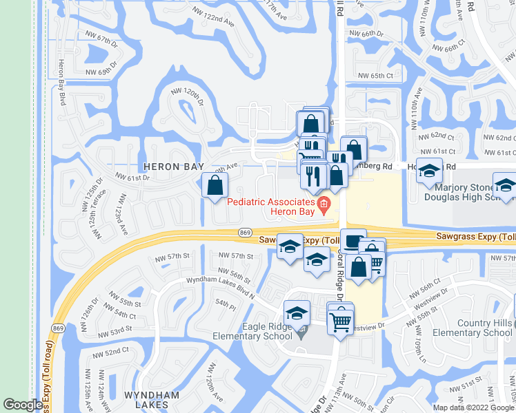 map of restaurants, bars, coffee shops, grocery stores, and more near 5751 Northwest 119th Terrace in Coral Springs