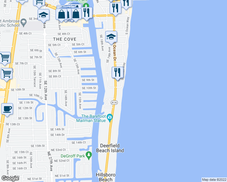 map of restaurants, bars, coffee shops, grocery stores, and more near 1239 Hillsboro Mile in Hillsboro Beach