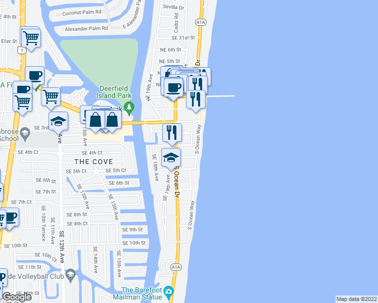 map of restaurants, bars, coffee shops, grocery stores, and more near 2051 Southeast 3rd Street in Deerfield Beach
