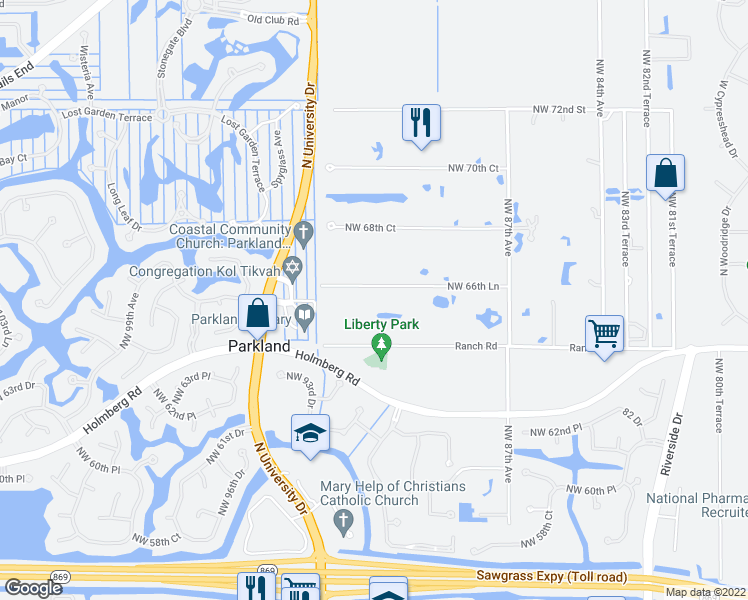 map of restaurants, bars, coffee shops, grocery stores, and more near 9136 Northwest 66th Lane in Parkland