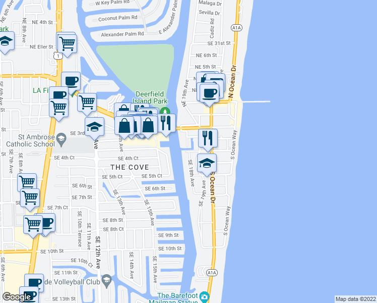 map of restaurants, bars, coffee shops, grocery stores, and more near 165 Southeast 18th Avenue in Deerfield Beach