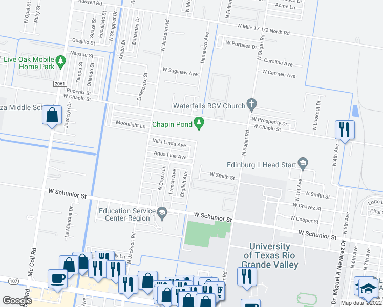 map of restaurants, bars, coffee shops, grocery stores, and more near 1206 Encanto Avenue in Edinburg