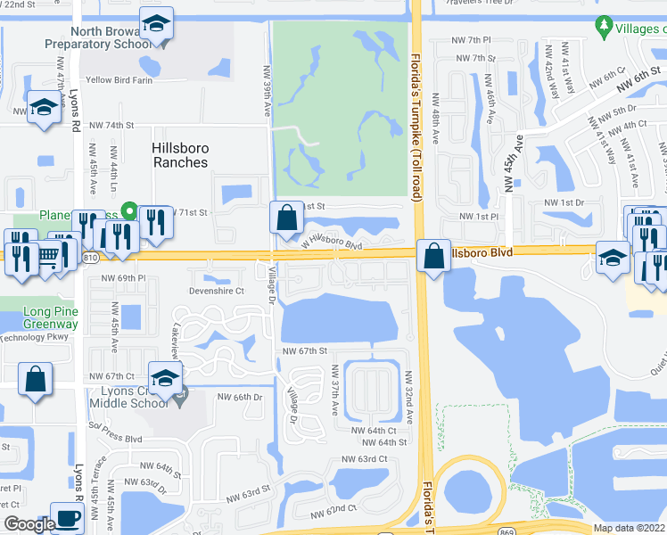 map of restaurants, bars, coffee shops, grocery stores, and more near 3600 West Hillsboro Boulevard in Coconut Creek
