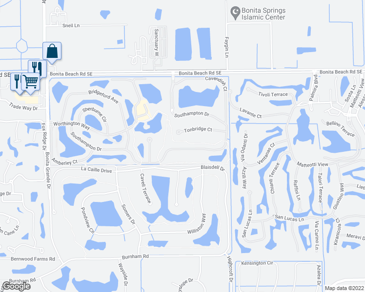 map of restaurants, bars, coffee shops, grocery stores, and more near 13531 Southampton Drive in Bonita Springs