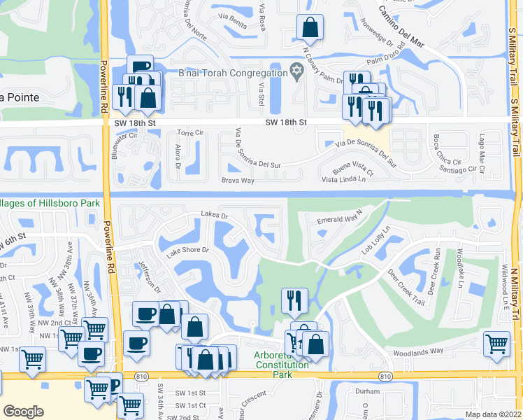 map of restaurants, bars, coffee shops, grocery stores, and more near 2928 Via Napoli in Deerfield Beach
