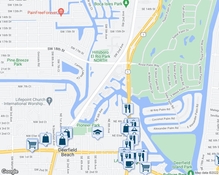 map of restaurants, bars, coffee shops, grocery stores, and more near 19 Royal Palm Way in Boca Raton