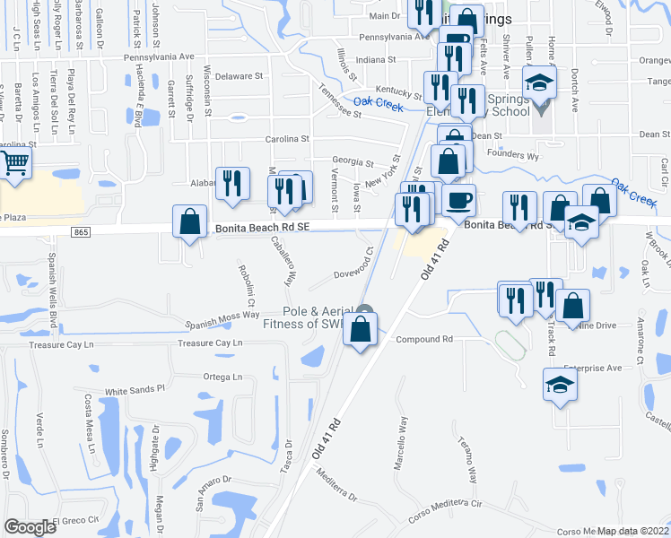 map of restaurants, bars, coffee shops, grocery stores, and more near 28151 Dovewood Court in Bonita Springs