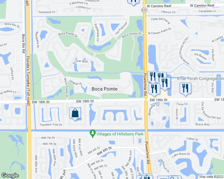 map of restaurants, bars, coffee shops, grocery stores, and more near 7294-7298 Panache Way in Boca Raton