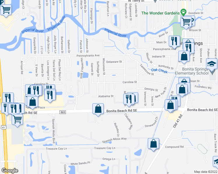 map of restaurants, bars, coffee shops, grocery stores, and more near 27800 Pension Place in Bonita Springs