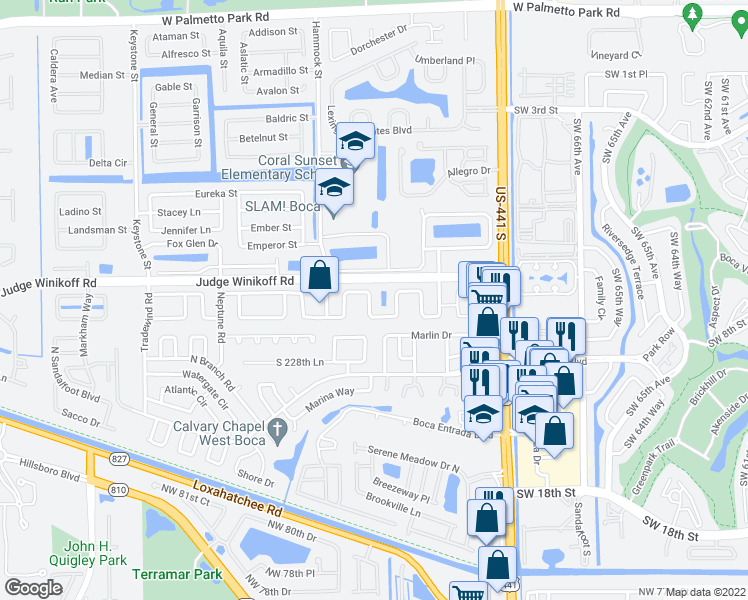 map of restaurants, bars, coffee shops, grocery stores, and more near 10374 Sleepy Brook Way in Boca Raton