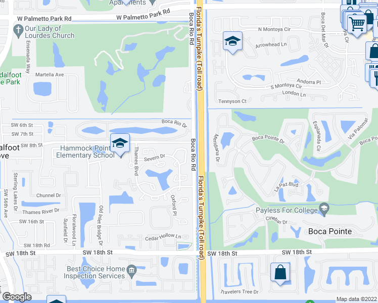 map of restaurants, bars, coffee shops, grocery stores, and more near 8129 Severn Drive in Boca Raton