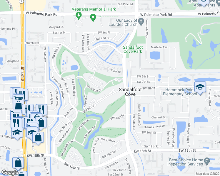 map of restaurants, bars, coffee shops, grocery stores, and more near 9400 Southwest 8th Street in Boca Raton