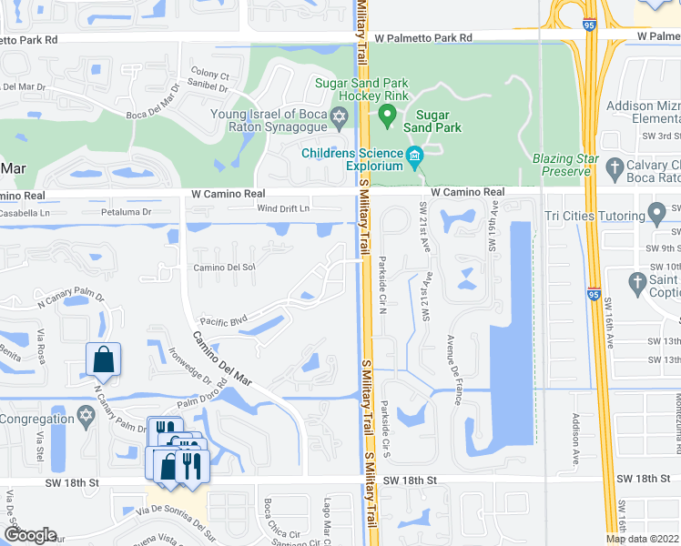 map of restaurants, bars, coffee shops, grocery stores, and more near 5500 Pacific Boulevard in Boca Raton