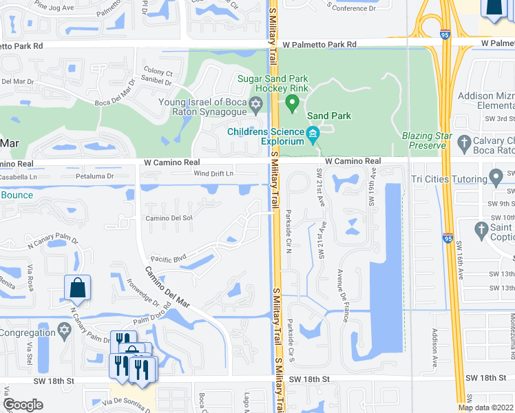 map of restaurants, bars, coffee shops, grocery stores, and more near 5515 Pacific Boulevard in Boca Raton