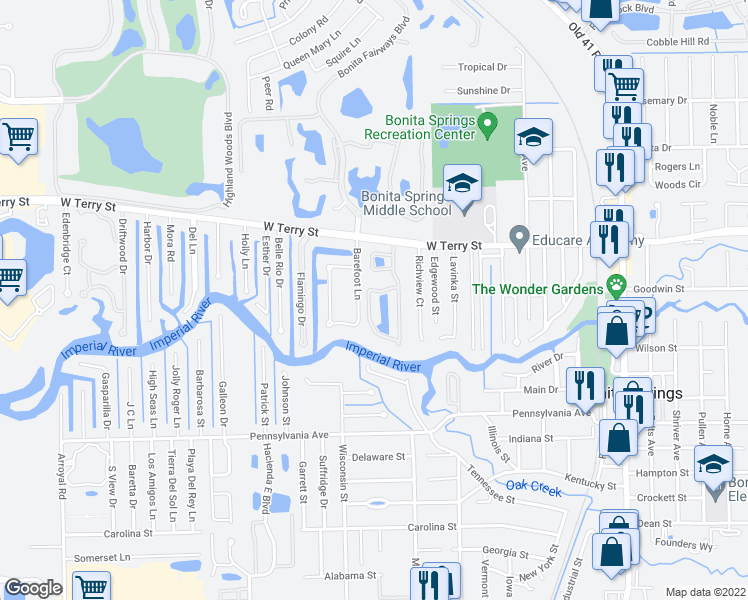 map of restaurants, bars, coffee shops, grocery stores, and more near 27144 Serrano Way in Bonita Springs