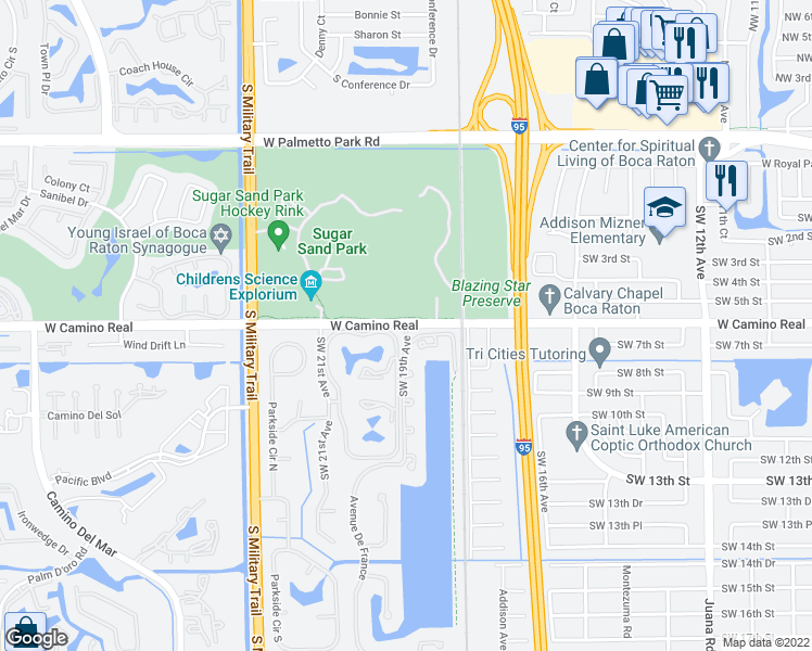 map of restaurants, bars, coffee shops, grocery stores, and more near West Camino Real in Boca Raton