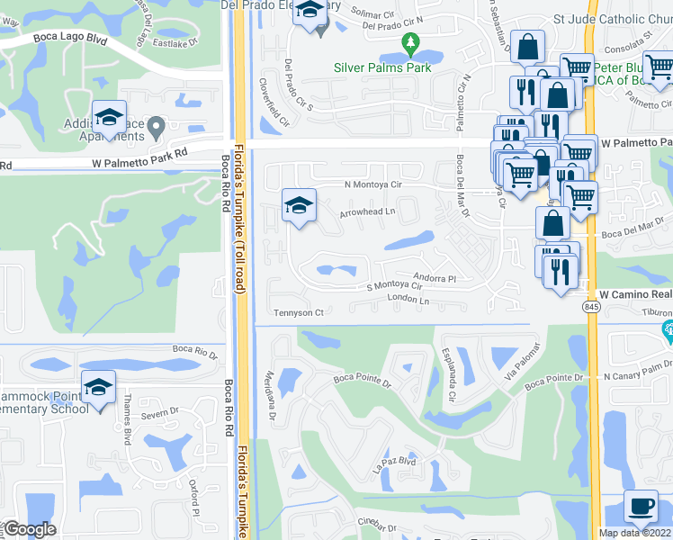 map of restaurants, bars, coffee shops, grocery stores, and more near 7790 Lago Del Mar Drive in Boca Raton