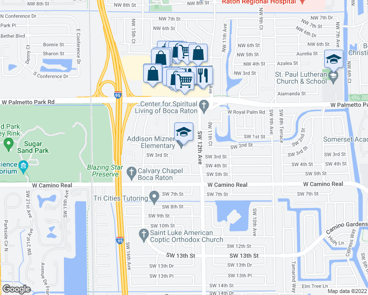 map of restaurants, bars, coffee shops, grocery stores, and more near 199 Southwest 12th Avenue in Boca Raton