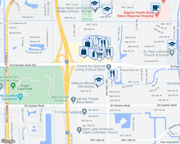 map of restaurants, bars, coffee shops, grocery stores, and more near 1320 West Royal Palm Road in Boca Raton