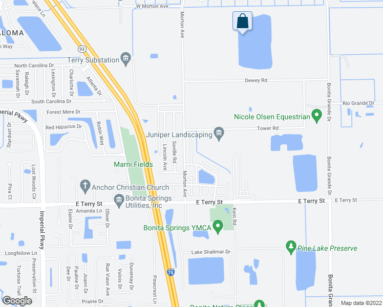 map of restaurants, bars, coffee shops, grocery stores, and more near 26729 Little John Court in Bonita Springs