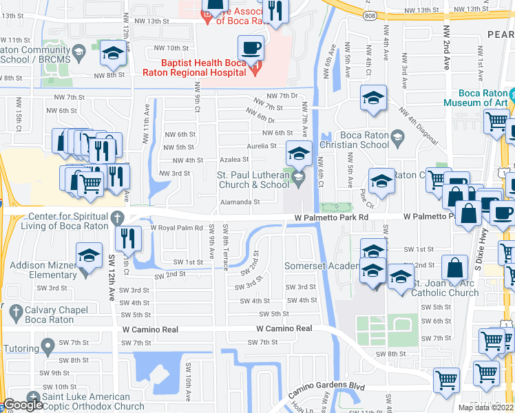 map of restaurants, bars, coffee shops, grocery stores, and more near 770 Alamanda St in Boca Raton