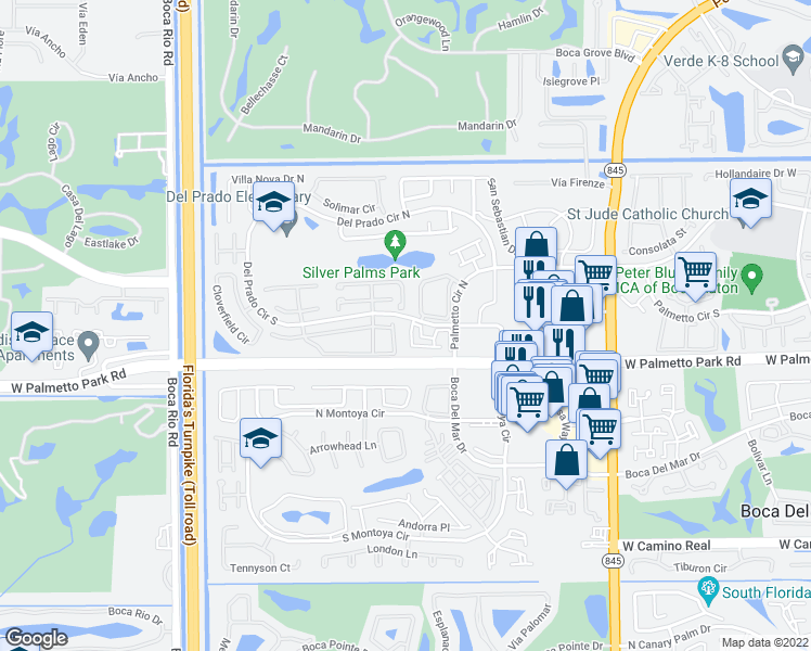 map of restaurants, bars, coffee shops, grocery stores, and more near 7482 Champagne Place in Boca Raton