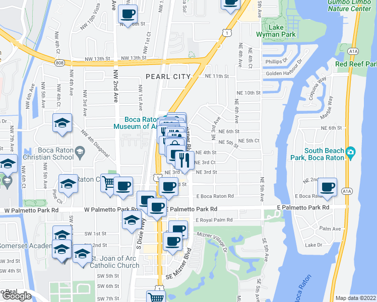 map of restaurants, bars, coffee shops, grocery stores, and more near 201 Northeast 4th Street in Boca Raton