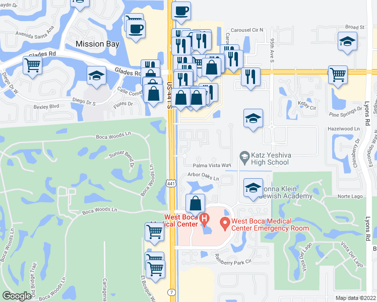 map of restaurants, bars, coffee shops, grocery stores, and more near 1601 Palma Vista Way in Boca Raton