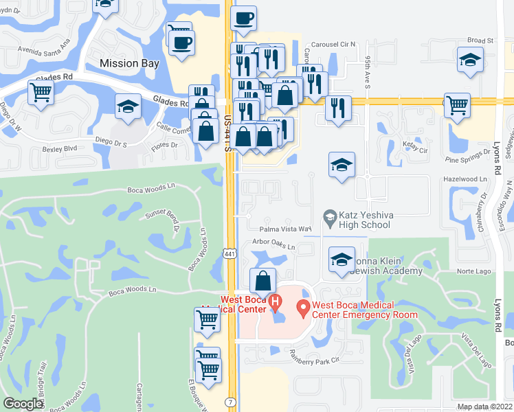 map of restaurants, bars, coffee shops, grocery stores, and more near 9896 Grand Verde Way in Boca Raton