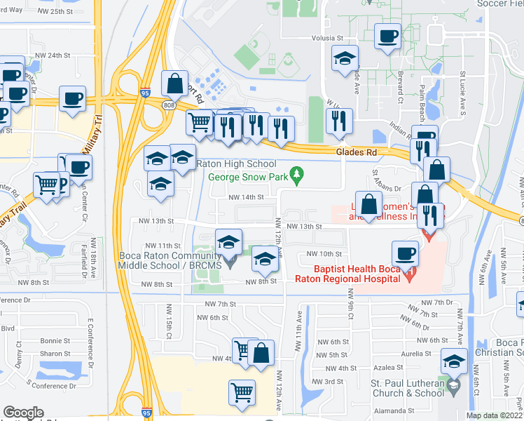 map of restaurants, bars, coffee shops, grocery stores, and more near 1050 Northwest 13th Street in Boca Raton