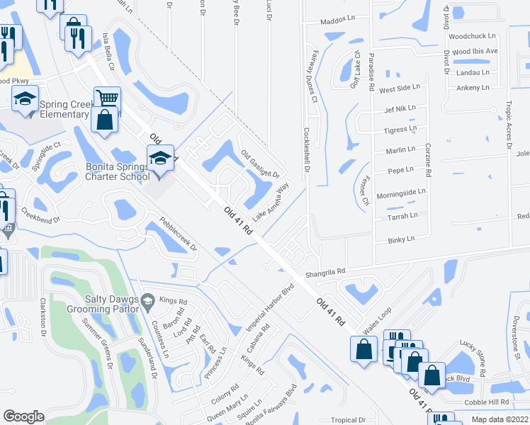 map of restaurants, bars, coffee shops, grocery stores, and more near 25755 Lake Amelia Way in Bonita Springs