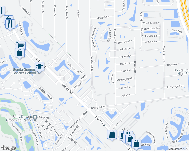 map of restaurants, bars, coffee shops, grocery stores, and more near 25498 Cockleshell Drive in Bonita Springs