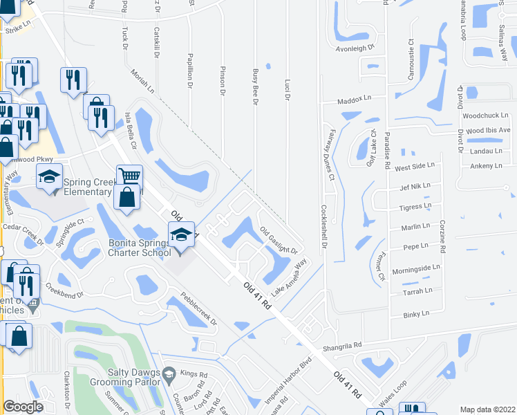 map of restaurants, bars, coffee shops, grocery stores, and more near 25750 Old Gaslight Drive in Bonita Springs