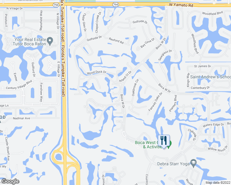 map of restaurants, bars, coffee shops, grocery stores, and more near 19713 Boca West Drive in Boca Raton