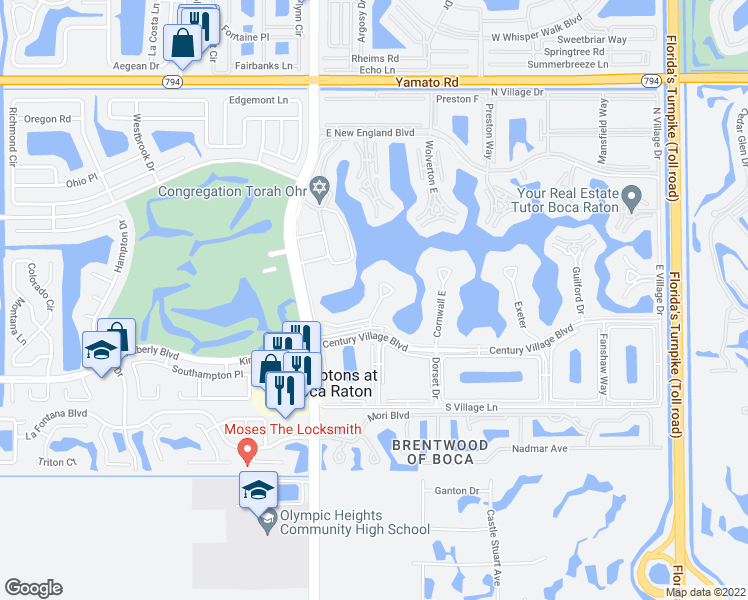 map of restaurants, bars, coffee shops, grocery stores, and more near 1047 Ainslie C in Boca Raton