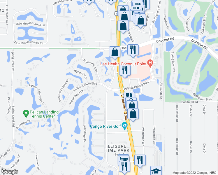 map of restaurants, bars, coffee shops, grocery stores, and more near 23710 Walden Center Drive in Bonita Springs