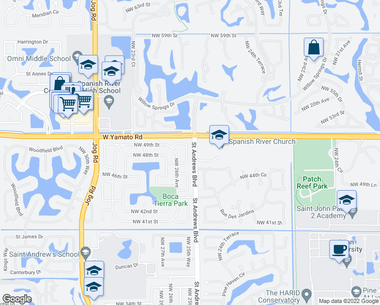 map of restaurants, bars, coffee shops, grocery stores, and more near 4800 Northwest 25th Way in Boca Raton