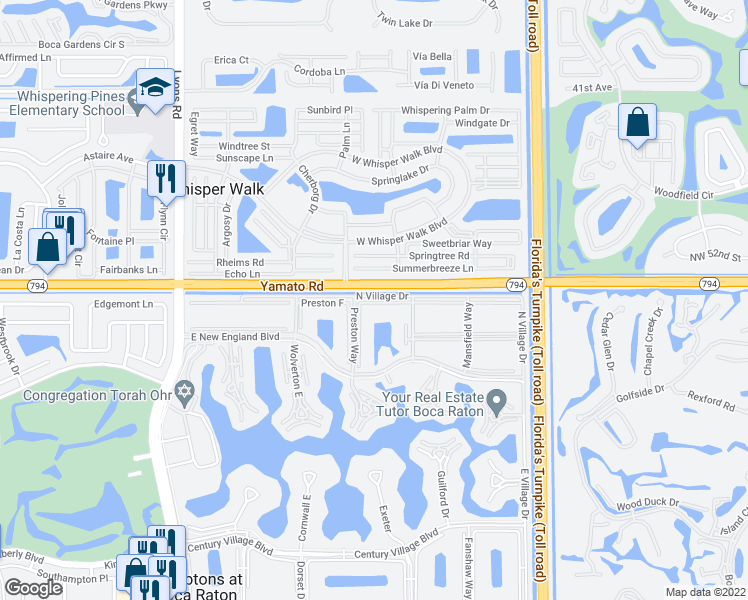map of restaurants, bars, coffee shops, grocery stores, and more near 212 Preston F in Boca Raton
