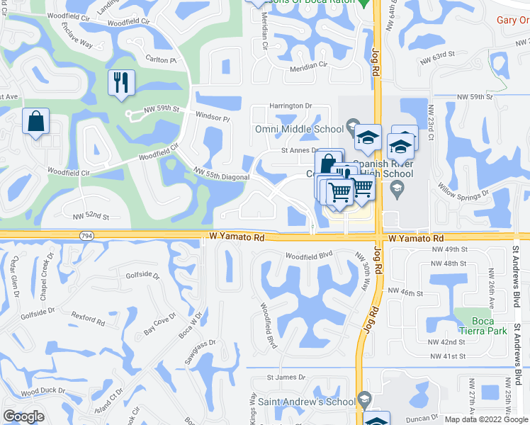 map of restaurants, bars, coffee shops, grocery stores, and more near 3325 Northwest 53rd Circle in Boca Raton