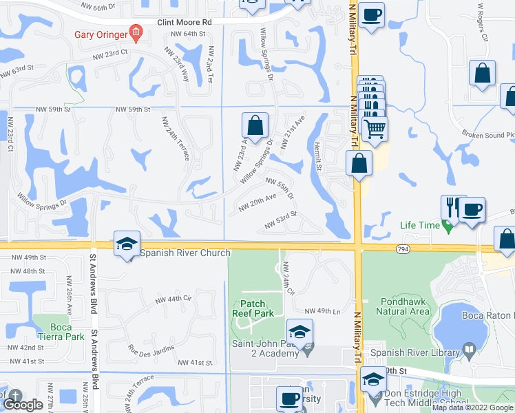 map of restaurants, bars, coffee shops, grocery stores, and more near 5372 Northwest 20th Avenue in Boca Raton